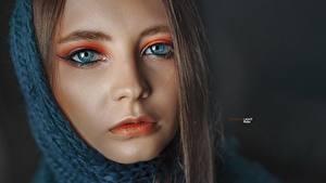 Sfondi desktop Occhi Viso Sguardo Makeup Naso Alexander Drobkov Eva Lapenko Ragazze