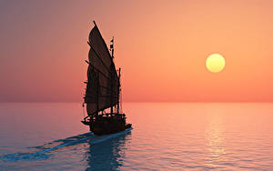 Fotos Segeln Sonnenaufgänge und Sonnenuntergänge Meer Sonne 3D-Grafik