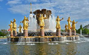 Fotos Russland Moskau Park Skulpturen Springbrunnen Fountain Friendship of peoples Städte