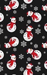 Hintergrundbilder Neujahr Textur Schneemänner Schneeflocken Schwarzer Hintergrund
