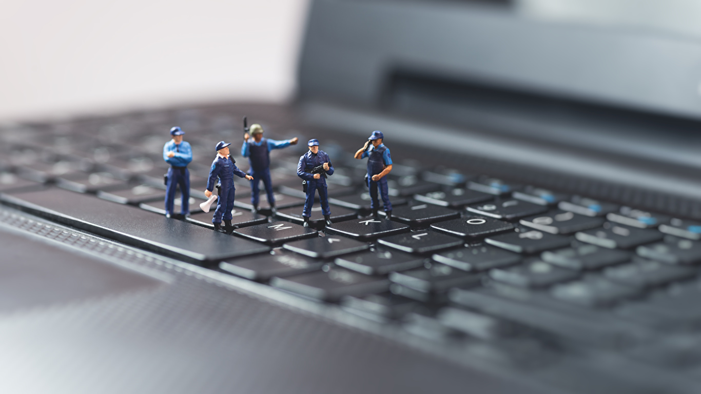 Pictures Laptops Keyboard Police Macro photography Toys 1366x768