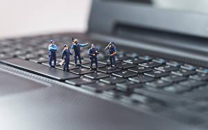 Picture Keyboard Toys Macro Closeup Laptops Police