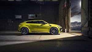 Hintergrundbilder Lamborghini Seitlich Gelb Crossover Metallisch Urus SSUV Autos