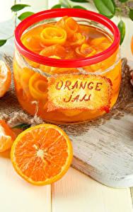 Fotos Konfitüre Apfelsine Schneidebrett Weckglas Lebensmittel