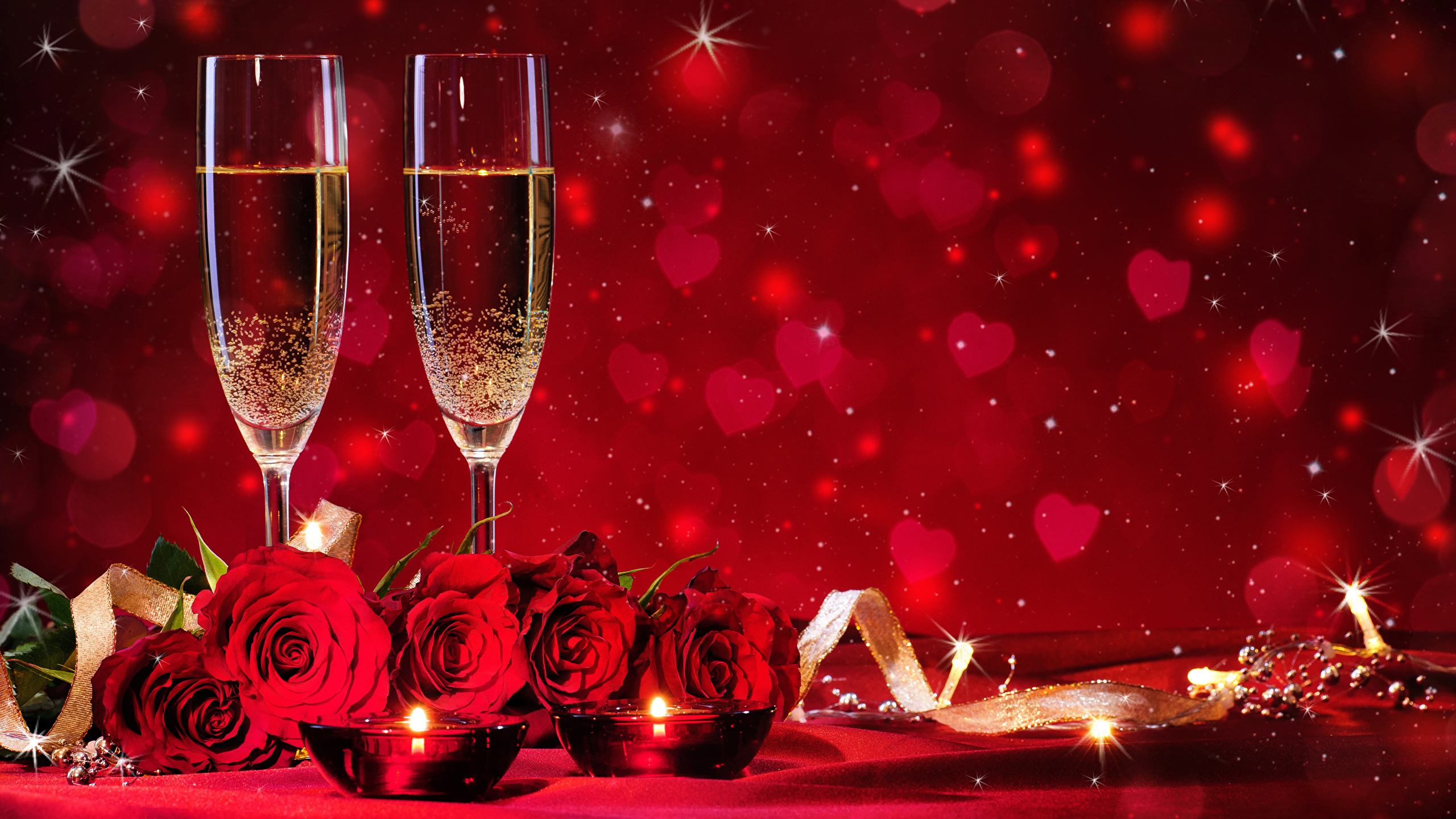 Fonds Decran 2560x1440 Saint Valentin Roses Bougies