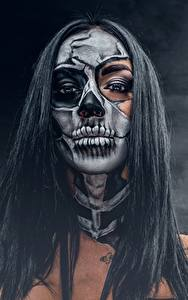 Bilder Feiertage Make Up Brünette Haar day of the dead Mädchens