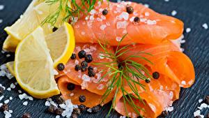 Images Seafoods Fish - Food Lemons Dill Black pepper Wood planks Salt Food