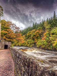 Bilder Schottland Herbst Flusse HDRI New Lanark
