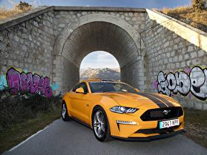 Bilder Ford Gelb Metallisch 2018-19 Mustang GT Fastback Performance Parts Autos