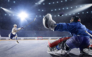 Images Hockey Men Two Rays of light Uniform Ice rink Sport