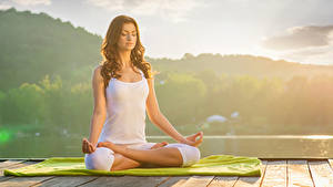 Images Brown haired Yoga Sitting Hands Sleeveless shirt Girls Sport
