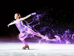 Bilder Schlittschuh Kleine Mädchen Tanzen Eis Hand Kinder Sport