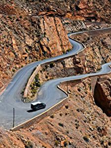 Fotos Marokko Gebirge Wege Von oben Felsen Gorges Dades Natur