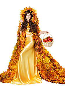 Pictures Autumn Apples White background Brown haired Gown Design Foliage Wicker basket Girls