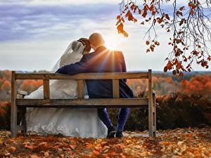Bilder Herbst Sonnenaufgänge und Sonnenuntergänge Mann Paare in der Liebe Bank (Möbel) Zwei Sitzt Bräutigam Braut Lichtstrahl Ast Mädchens