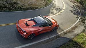 Hintergrundbilder Straße Chevrolet Von oben Orange Corvette Stingray 2020 C8 automobil