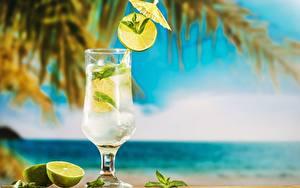 Fotos Mojito Cocktail Limette Weinglas das Essen