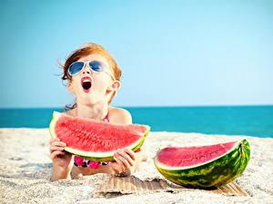 Wallpaper Watermelons Beach Little girls Eyeglasses Children