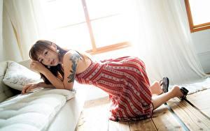Fotos Asiatisches Posiert Kleid Tätowierung Sofa Kissen Braune Haare Mädchens