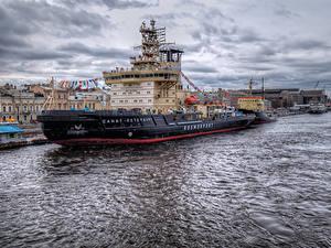 Fotos Russland Sankt Petersburg Flusse Seebrücke Schiffe Städte