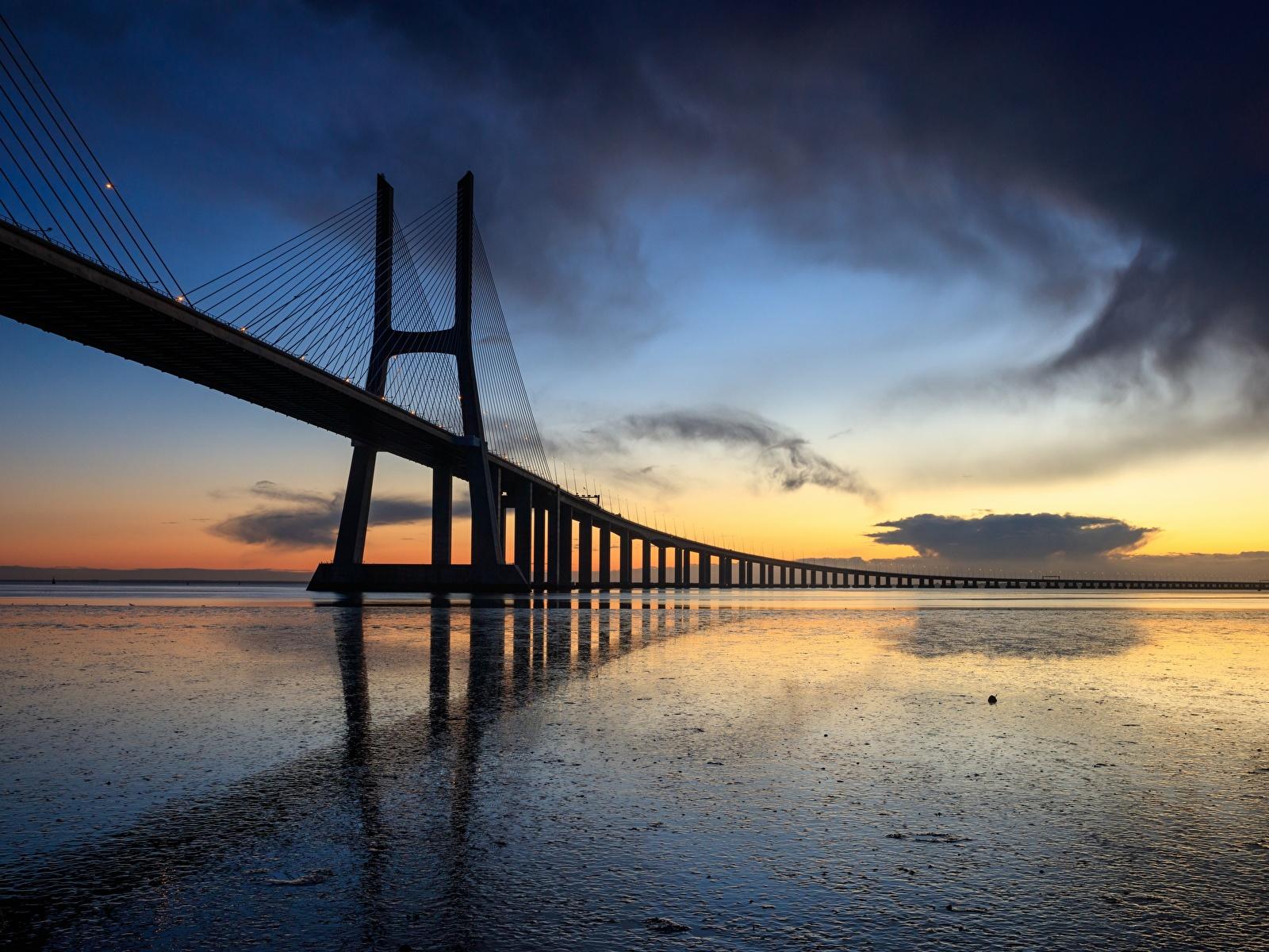 1600x1200、夕、橋、ポルトガル、リスボン、Vasco da Gama bridge、、都市、