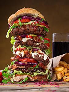 Images Fast food Hamburger Finger chips Drinks Highball glass Food