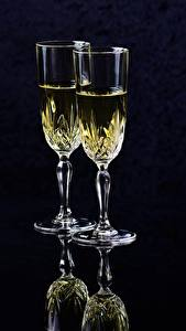 Image Champagne Black background Stemware Two Food