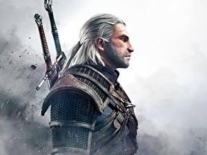 Fotos The Witcher 3: Wild Hunt Mann Geralt von Rivia Krieger Spiele Fantasy