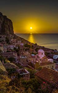Bilder Griechenland Haus Sonnenaufgänge und Sonnenuntergänge Meer Felsen Sonne Dach Monemvasia