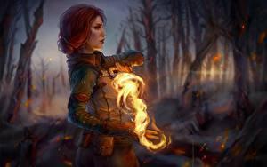 Fotos The Witcher 3: Wild Hunt Feuer Magie Magier Hexer Fanart Rotschopf Hand Triss Merigold Fantasy Mädchens