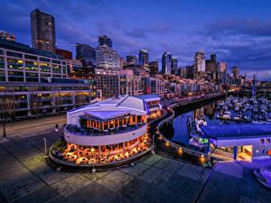 Bilder USA Seattle Haus Schiffsanleger Abend Café Städte