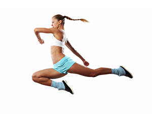 Wallpaper White background Brown haired Workout Jump Hands Legs young woman Sport