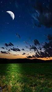 Bilder Himmel Acker Mondsichel Nacht Mond Wolke Natur