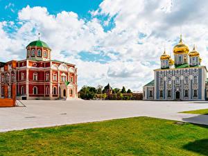 Bilder Russland Tempel Kirche Platz Rasen Tula Städte