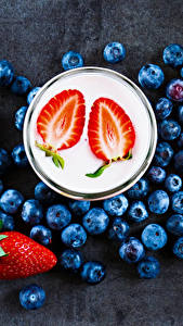 Hintergrundbilder Getränke Beere Erdbeeren Heidelbeeren Joghurt