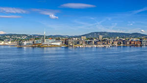 Pictures Norway Oslo Building Pier Bay Hill Cities