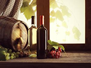 Fondos de Pantalla Barril Vino Uvas Botella