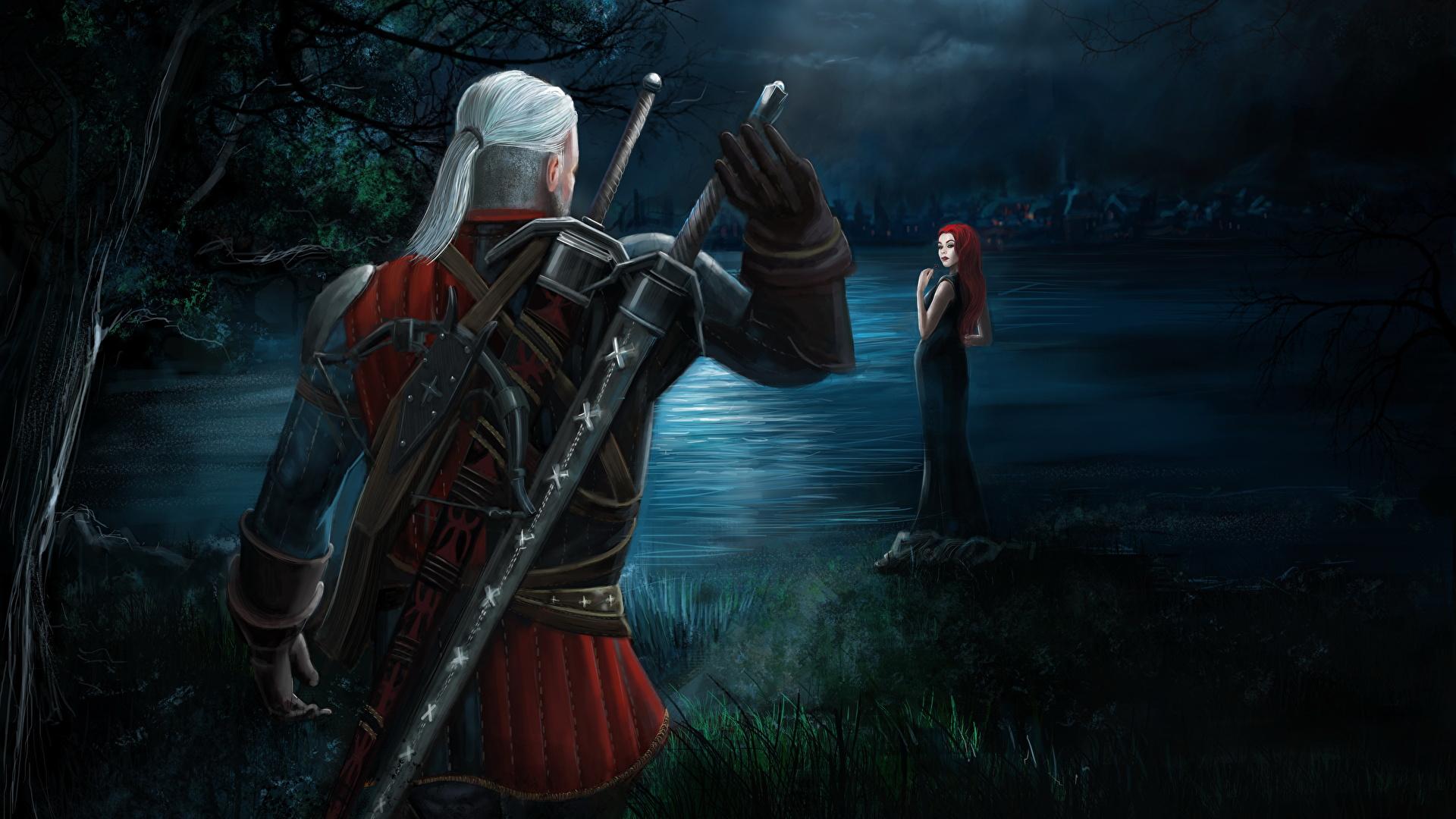 Desktop Wallpapers The Witcher 3 Wild Hunt Swords Geralt