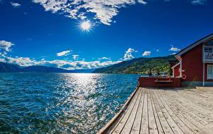 Hintergrundbilder Island Bootssteg Himmel Bucht Hügel Sonne