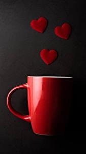 Bilder Valentinstag Grauer Hintergrund Tasse Rot Herz das Essen