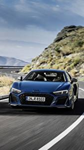 Fotos Wege Audi Vorne Blau Geschwindigkeit R8 V10 quattro performance Autos