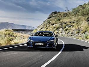 Fotos Straße Audi Vorne Blau Bewegung R8 V10 quattro performance Autos