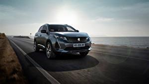 Hintergrundbilder Peugeot Straße Küste Fahrendes Softroader Graue Metallisch 3008 GT, 2020 auto