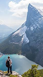Wallpaper Mountains Lake Canada Man Landscape photography Cliff Snow Canadian Rocky Mountains Nature