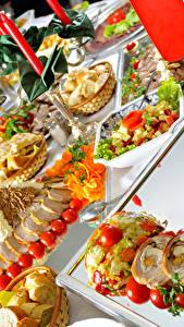 Fotos Servieren Fleischwaren Gemüse Salat Geschnitten