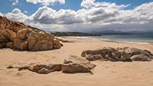 Hintergrundbilder Küste Meer Stein Himmel Strand Sand Wolke Natur