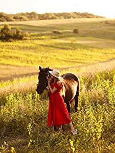 Fotos Grünland Pferde Der Hut Kleid Mädchens