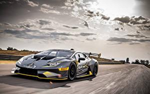 Fotos Lamborghini Fahrzeugtuning Grau Bewegung  Autos