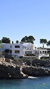 Picture Villa Coast Spain Trees Mallorca, Balearic Islands Nature