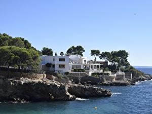 Bilder Villa Küste Spanien Bäume Mallorca, Balearic Islands Natur